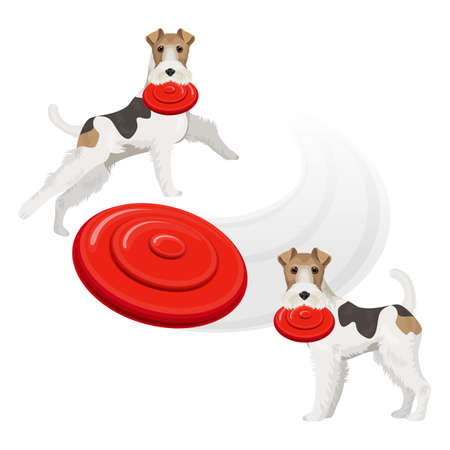 Funny fox terrier dog with red frisbee in teeth Vector Illustration