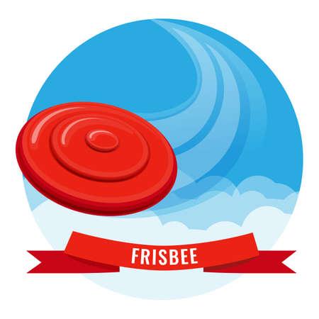 Flying disk red frisbee on blue sky vector illustration