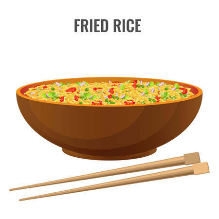 Asian recipe spicy fried rice with vegetables and seasoning brown bowl. Dish and chopsticks side view vector isolated. National meal presentation poster.