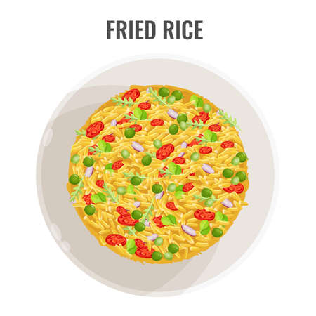 Asian recipe spicy fried rice with vegetables and seasoning in white bowl. Dish plane-view vector illustration. Appetizing national food colorful poster