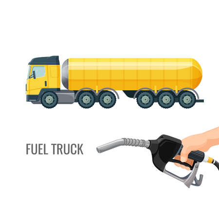 Fuel truck and hand holding classic nozzle pumping