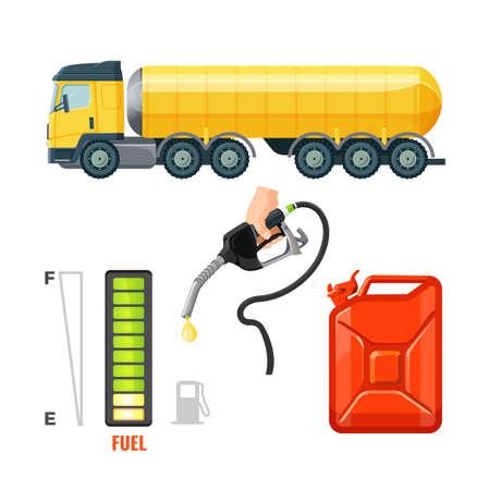 Brandstof vrachtwagen pictogrammen, benzine-apparatuur en benodigdheden. Bus en haak Vector Illustratie
