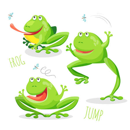 Funny smiling jumping frog in different poses in cartoon style. Fat toad with sticking out tongue trying to catch fly isolated on white vector illustration