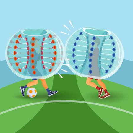 Zorbing illustration. Two man play zorbing soccer. Vector
