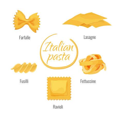 Pasta of Italy, farfalle, lasagne, fettuccine and ravioli, fusilli