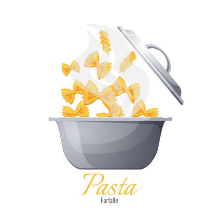 Farfalle and fusilli Italian pasta in pot with cover, vector isolated. Process of preparing Italy cuisine food, boiling pasta in saucepan