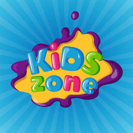 Kids zone logotype on color background on blue Logo