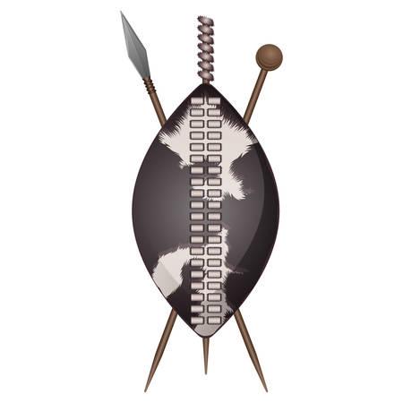 Escudo zulú, arma étnica africana hecha de piel de animal, lanzas cruzadas vector iconos aislados. Assegai lanza escudo y club armadura personal vector aislado Ilustración de vector