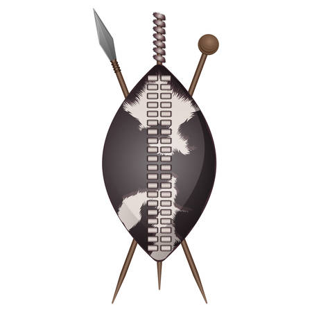 Zulu shield, ethnic african weapon made of animal skin, crossed spears vector isolated icons. Assegai spear shield and club isolated vector personal armour