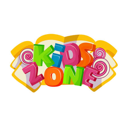 Children playground area, kids zone logo on white Stock Illustratie