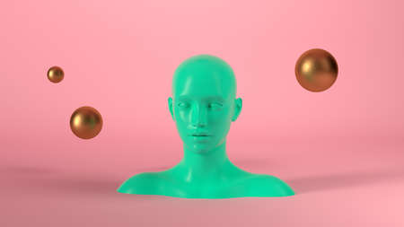 Abstract mannequin female head with golden spheres balls