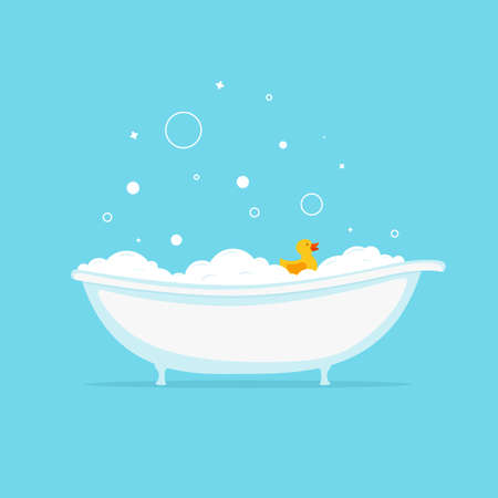 Foam bath with yellow duck and bubbles.