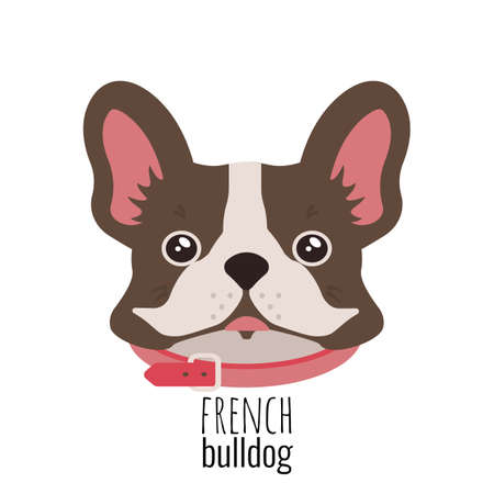 French bulldog face. Cute brown Frenchie with bunny ears. Archivio Fotografico - 129212778