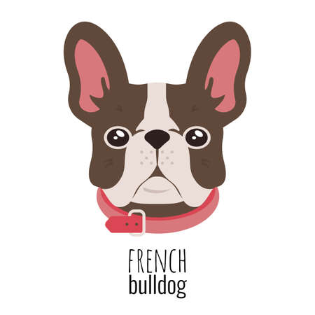 French bulldog face. Cute brown Frenchie with bunny ears.