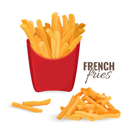 French fries potatoes in red paper carton package box.
