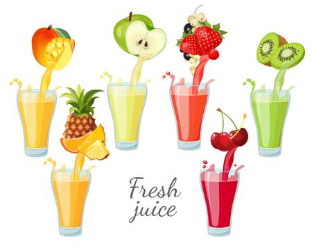 Different fruit juices in glasses with splashes.