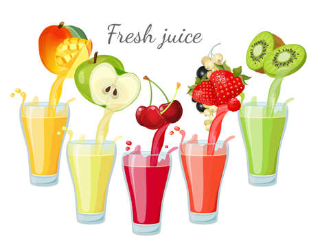Different fruit juices in glasses with splashes. Stok Fotoğraf - 130616467