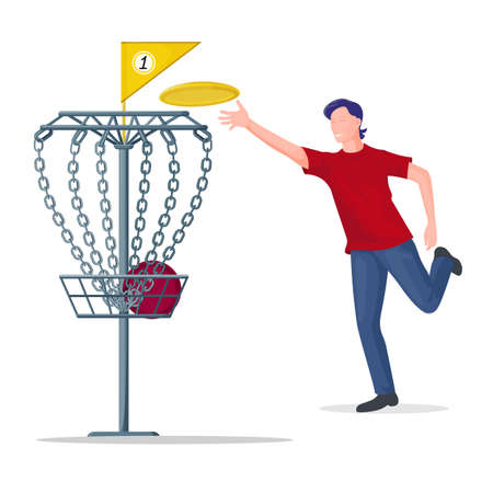 Man throwing a  disc to the basket. 向量圖像