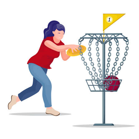 Woman throwing a  disc to the basket.