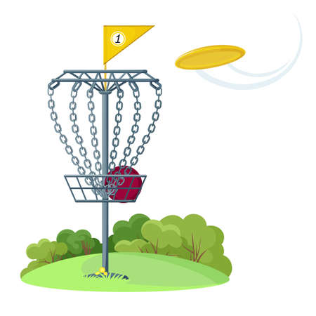 Disc golf basket with yellow flying  disk Illustration