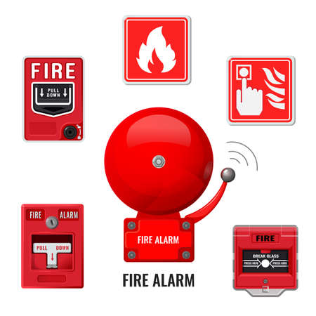 Zestaw ikon systemu sygnalizacji pożaru.