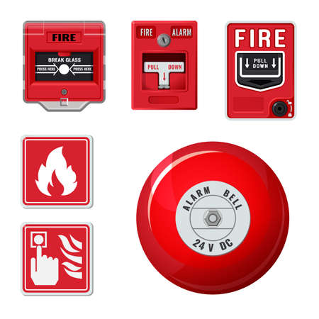 Fire alarm system icons set.