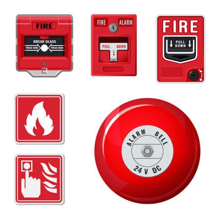 Fire alarm system icons set. Vector Illustratie