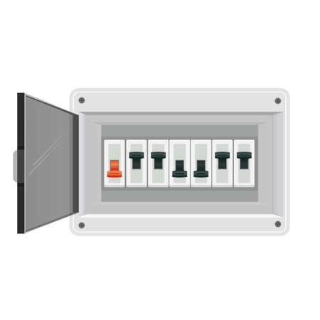 Fuse board box. Electrical power switch panel. Electricity equipment. Vector illustration Illusztráció