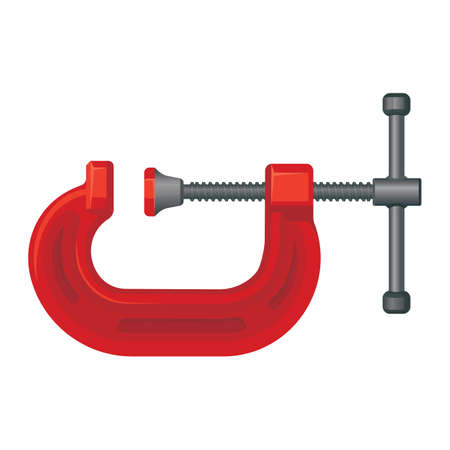 G clamp tool. Steel vice equipment for metal object.
