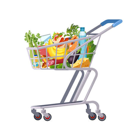 Full shopping cart of market food, grocery and products. Organic fruit, vegetables and supermarket products. Retail and supermarket trolley. Vector