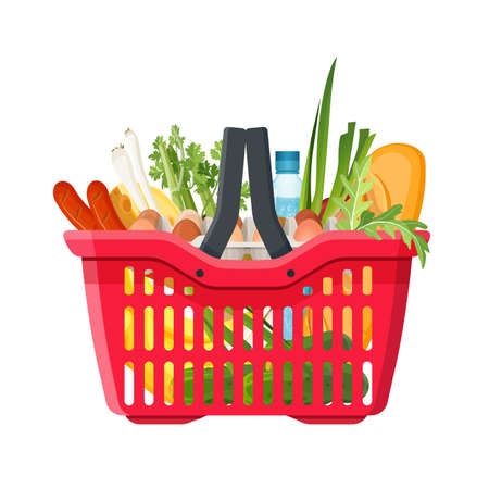 Full shopping basket of market food and products. Organic fruit, vegetables and supermarket products. Vector illustration Stock Illustratie