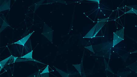 Abstract verbinden veelhoek en lowpoly geometrische ruimte futuristische achtergrond. Vectorillustratie voor webdesign Vector Illustratie
