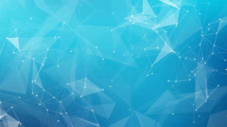 La ciencia abstracta conecta la red de datos y el fondo médico azul. Diseño de blockchain criptográfico vectorial para web