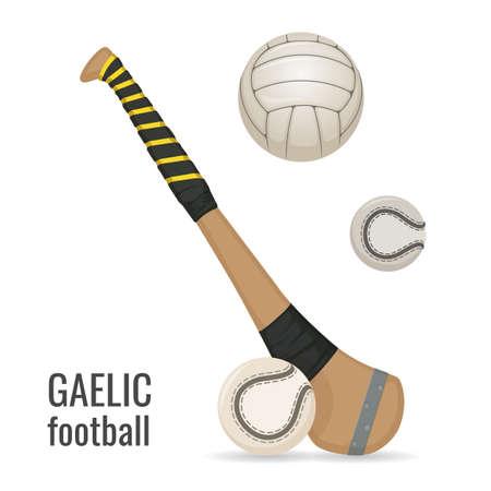 Gaelic football club and balls icon set. Irish football sport equipment. Vector