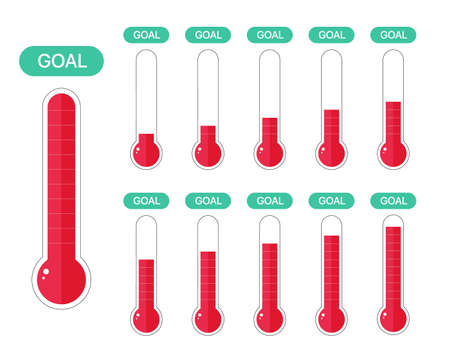 Fundraiser and charity goal thermometer. Growth fund donation success icon set. Vector