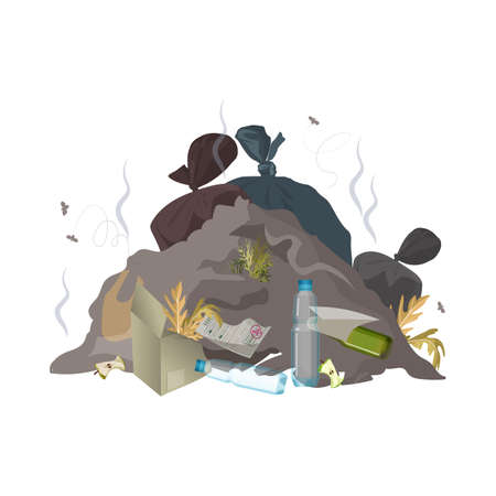 Garbage dump. Trash, rubbish and waste environment pollution. Ecology problem concept. Vector illustration