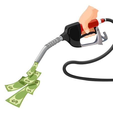 Gas, gasoline pump money concept. Cost for fuel. Vector