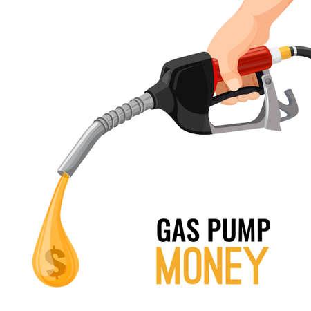 Gas, gasoline pump money concept. Cost for fuel. Vector Vector Illustration