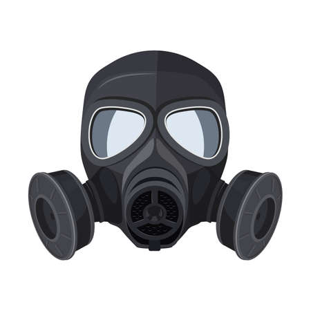 Gas mask. Protection army equipment from toxic and chemical danger for safety. Vector Illusztráció