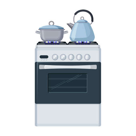 Gas stove with pan and kittle. Home kitchen food cooking illustration.