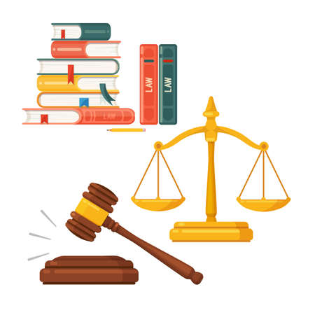 Gavel, scales, law books icon set. 向量圖像