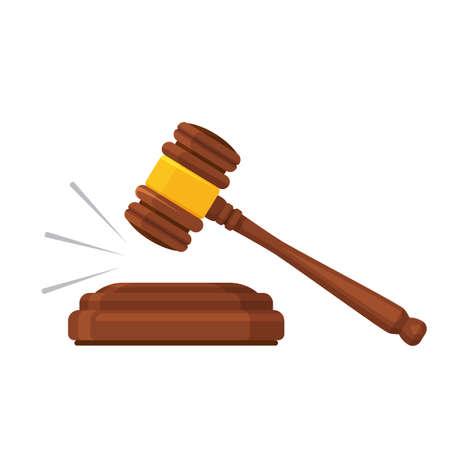 Gavel law. Auction mallet. Court, justice, legal symbol Wooden hammer Vector illustration Ilustrace