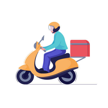 Delivery man or courier riding scooter to service fast food box. Vector Foto de archivo - 143621805