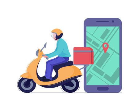 Delivery man or courier riding scooter to service fast food box and phone app concept. Vector Foto de archivo - 143621827