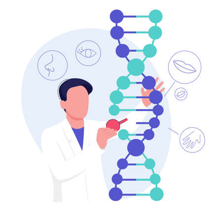 Genetic research science. A scientist experimenting with DNA. Technology and biology concept. Vector illustration Vector Illustratie