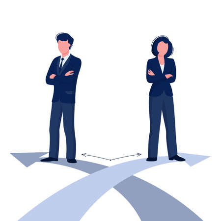 Gender difference concept. Woman and man business corporate difference. Ilustração