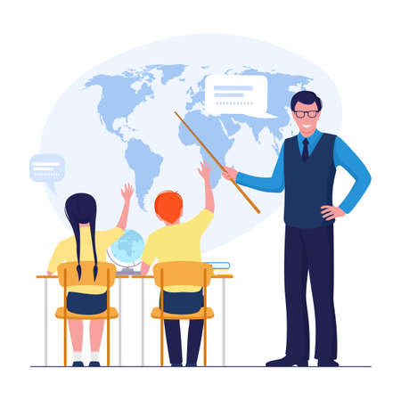 Geography student and teacher at the school. Child and education concept.