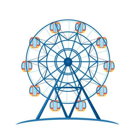 Amusement entertainment park giant wheel for fun. Illustration