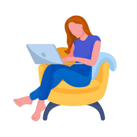 Person working from home. Cartoon character with laptop. Vector 일러스트