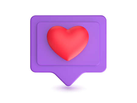 Social media network like icon. Internet sign and symbol with heart. 3D render 스톡 콘텐츠